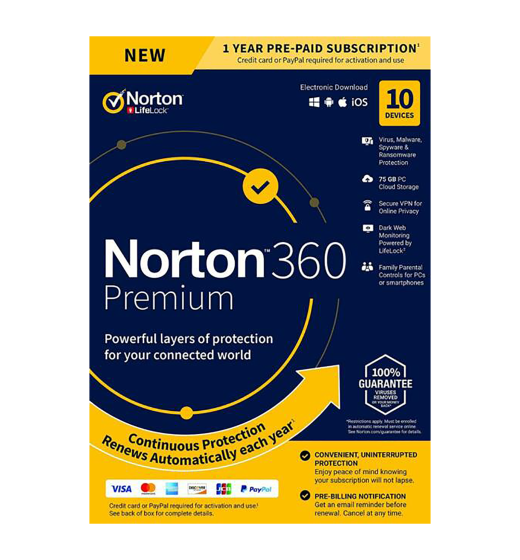 Securitysoftware: Norton 360 Premium | 10Devices - 1Year | Windows - Mac - Android - iOS |75GB Cloud Storage
